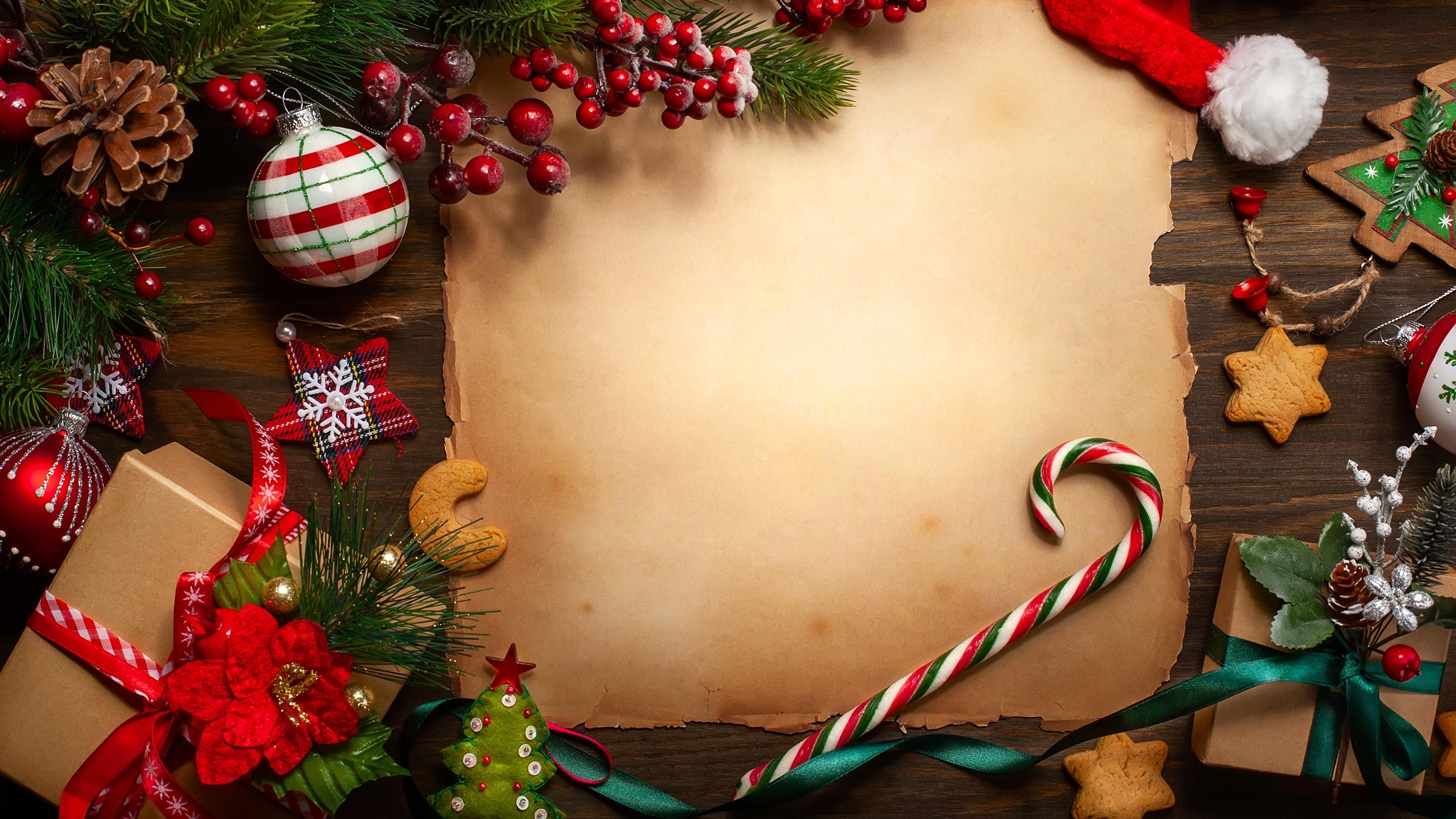 Фото Новый год Шаблон поздравительной открытки 3840x2160 Рождество