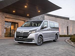 Обои для рабочего стола Тойота Серебряный Металлик Минивэн 2019 Granvia авто