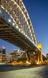 Обои Австралия Здания Мосты Сидней Ночь Уличные фонари Залив Города