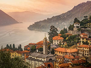 Картинка Италия Дома Озеро Горы Moltrasio Como Lake город
