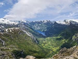Обои Норвегия Горы Пейзаж Снег Облака Fjord Природа