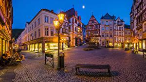 Обои Германия Здания Вечер Улица Уличные фонари Скамья Bernkastel город