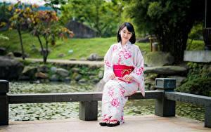 Фотографии Азиатки Боке Сидящие Кимоно девушка