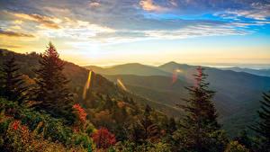 Фотография США Рассвет и закат Горы Леса Пейзаж Ели Transylvania North Carolina