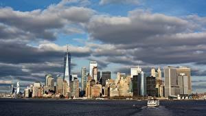 Фотографии США Небоскребы Катера Нью-Йорк Манхэттен Мегаполиса Заливы Города