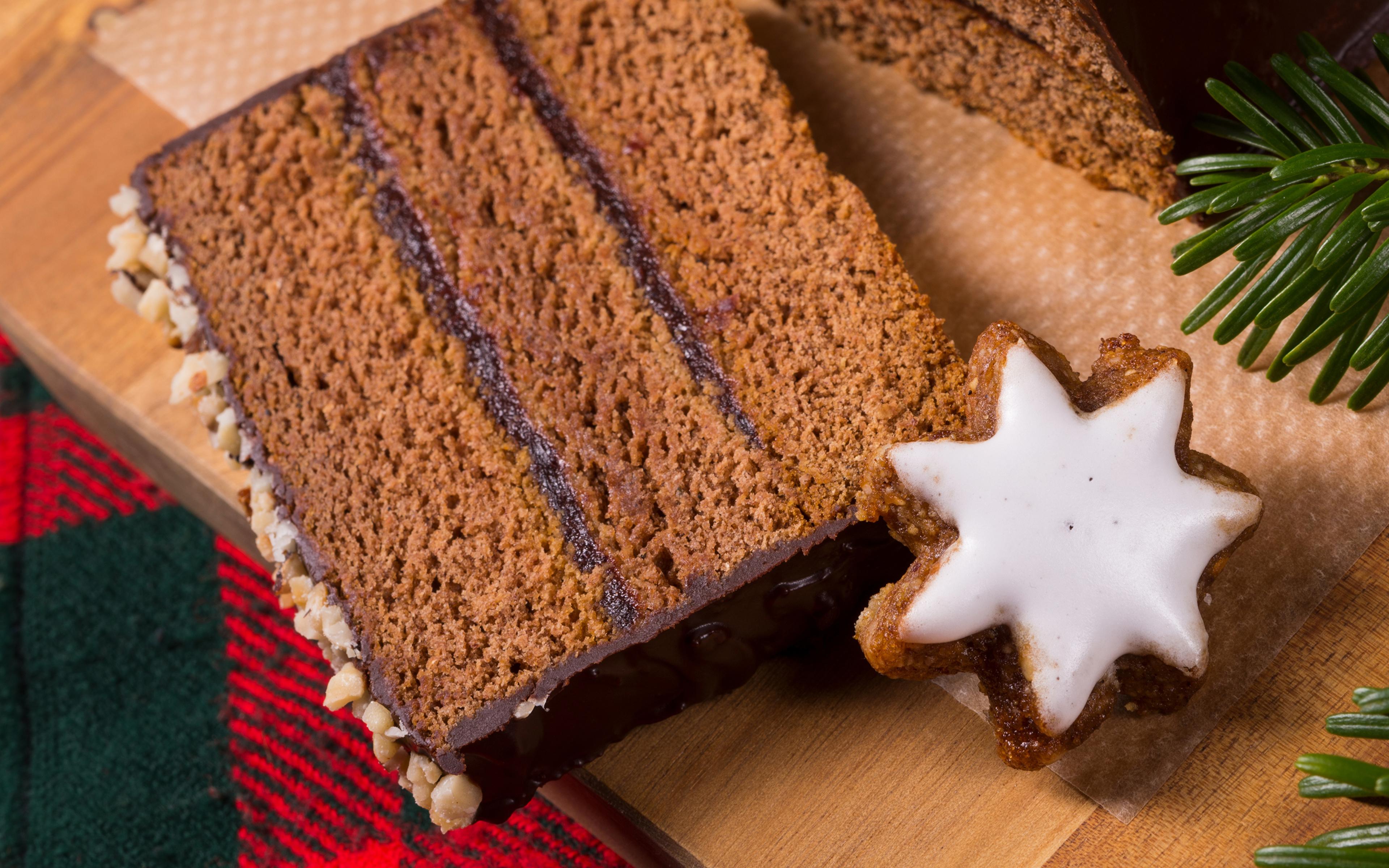 Картинка Новый год Шоколад Торты Кусок Пища Печенье Выпечка 3840x2400 Рождество часть кусочки кусочек Еда Продукты питания