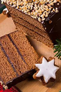 Картинка Новый год Выпечка Печенье Шоколад Торты Кусок