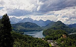 Картинка Германия Озеро Горы Леса Замки Альп Бавария Облако Природа