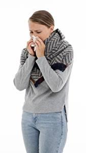 Фотография Белом фоне Шатенки Руки Джинсы Простуда runny nose, colds Девушки