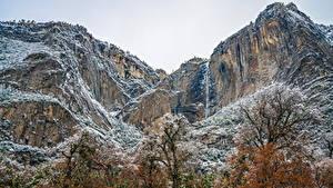 Фотографии Штаты Парки Горы Йосемити Снег