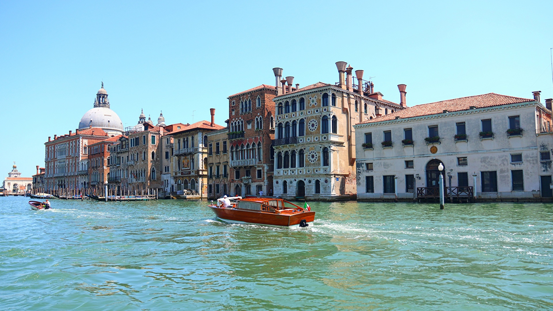 Обои дома, grand canal, водный канал, катера, венеция. Города foto 7
