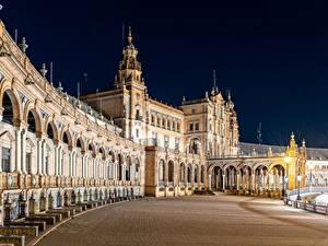 Обои Испания Ночные Plaza de España, Seville Города