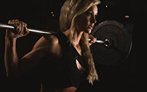 Обои Фитнес Штанга Блондинка Девушки Спорт