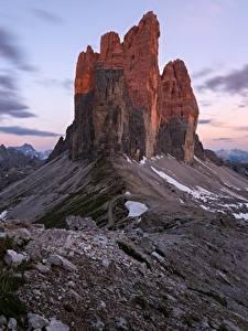 Обои для рабочего стола Горы Италия Утес Dolomites Природа
