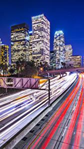 Картинки Штаты Здания Дороги Лос-Анджелес Скорость В ночи