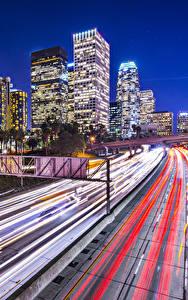 Картинки Штаты Здания Дороги Лос-Анджелес Едущий Ночные