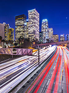 Картинки Штаты Здания Дороги Лос-Анджелес Скорость В ночи Города