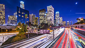 Картинки Штаты Здания Дороги Лос-Анджелес Едущий Ночные Города