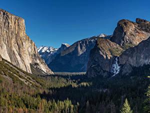 Картинка США Парки Горы Леса Пейзаж Йосемити Скала Природа