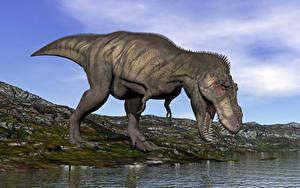 Картинка Динозавр Воде Крупным планом 3D_Графика