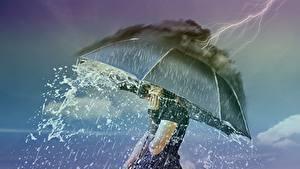 Фотографии Дождь Стихия Оригинальные Зонт Молния