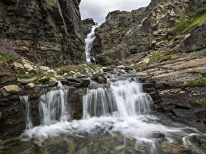 Картинки Камень Водопады Парки Штаты Скала Wrangell-St. Elias, state of Alaska Природа