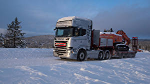 Картинка Сканиа Грузовики Снег 2013-17 R580 6×4 Streamline Topline Cab Авто