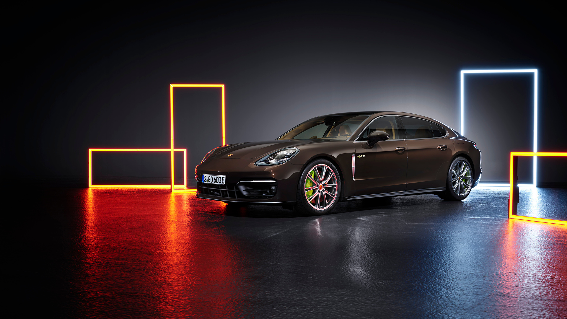 Фото Порше anamera 4S E-Hybrid Executive, (971), 2020 коричневые Сбоку Металлик Автомобили 1920x1080 Porsche Коричневый коричневая авто машины машина автомобиль