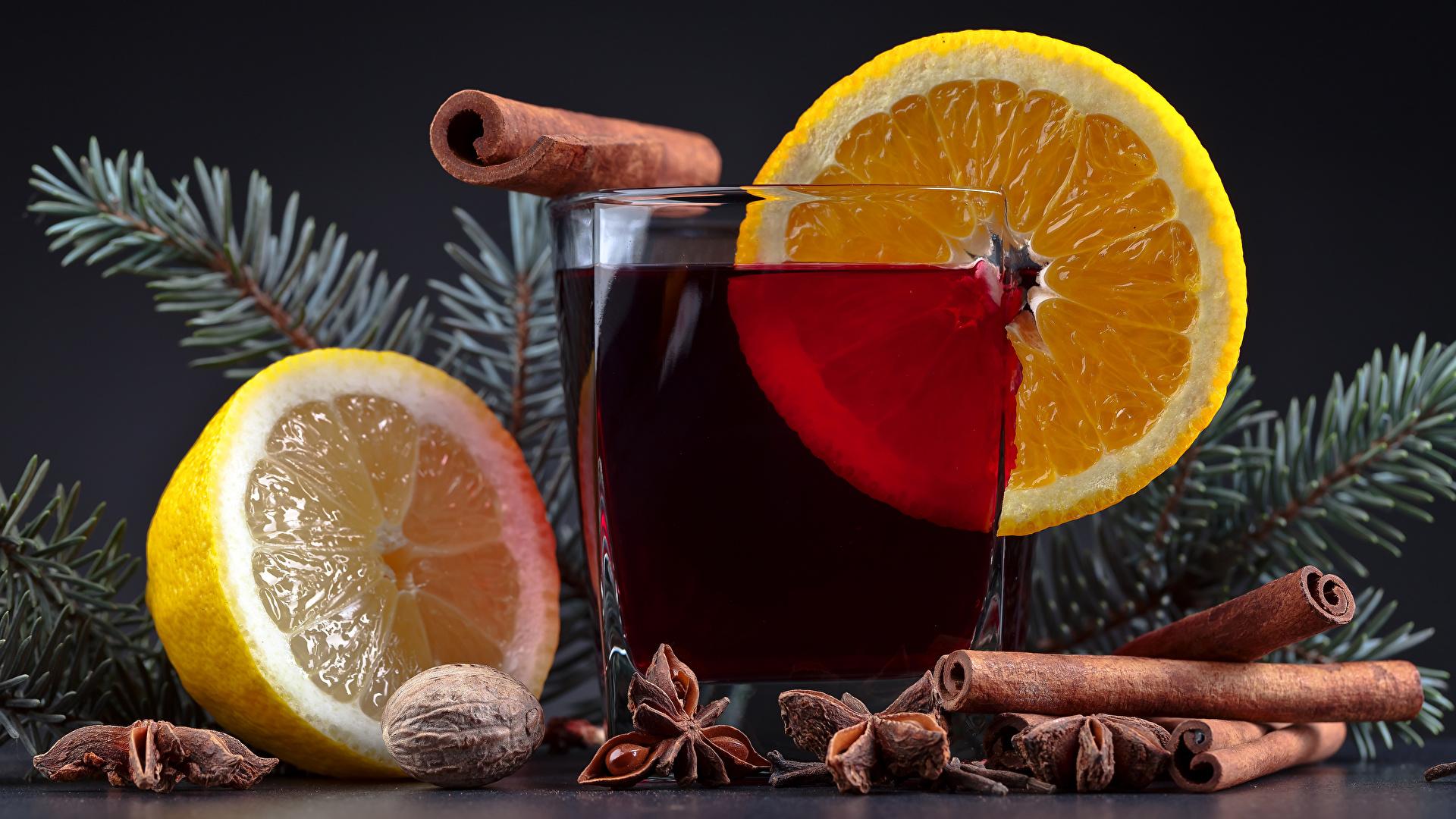 Фотография Новый год Стакан Корица Лимоны Пища Напитки 1920x1080 Рождество стакана стакане Еда Продукты питания