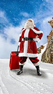 Обои Рождество Зимние Снег Санта-Клаус Чемодан