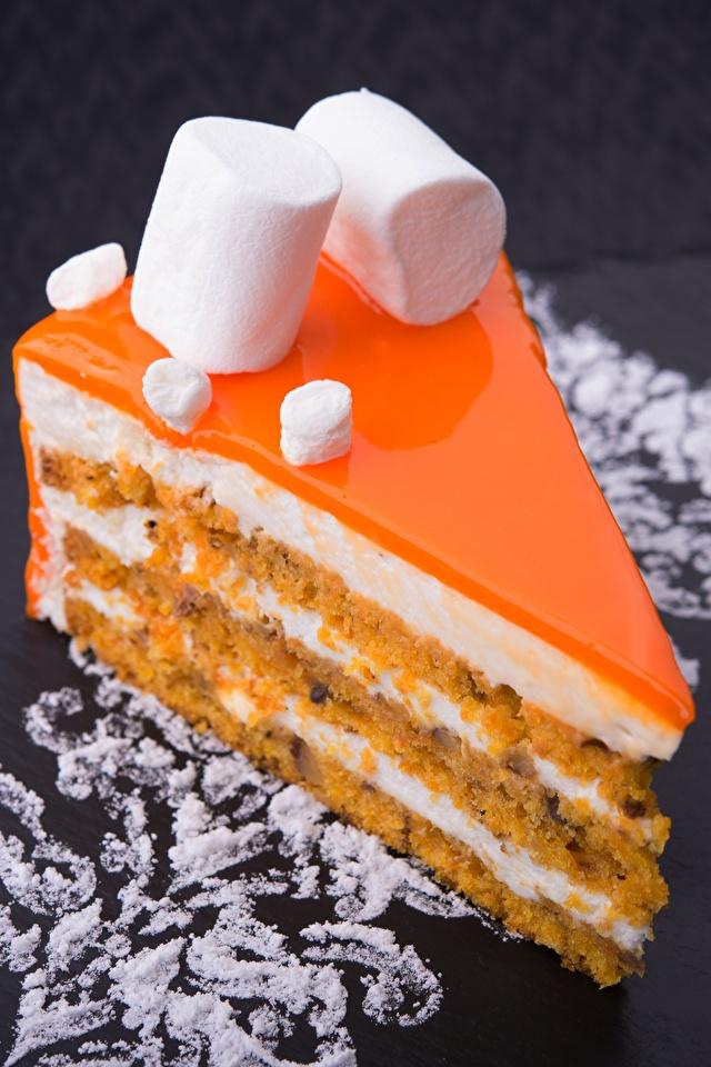 Картинки Торты зефирки часть Десерт Пища Пирожное 640x960 для мобильного телефона Маршмэллоу Кусок кусочки кусочек Еда Продукты питания