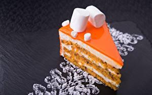Картинки Пирожное Десерт Торты Кусочек Зефирки Продукты питания