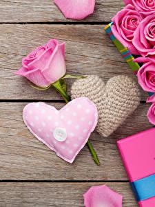Картинки День всех влюблённых Розы Доски Розовые Сердца цветок
