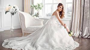 Фотография Букет Шатенки Невеста Платья молодые женщины