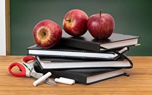 Обои Школьные Яблоки Фрукты Книги Пища