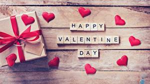 Картинка День святого Валентина Подарок Сердца Доски Английская