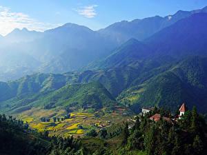 Фотография Вьетнам Горы Поля Здания Muong Hoa Valley Sapa