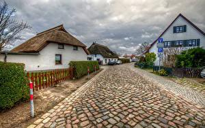 Картинки Германия Здания Дороги Улиц HDRI Забор Wieck Mecklenburg-Vorpommern