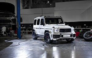 Картинка Мерседес бенц G-класс Белые SUV 2019 Urban Automotive AMG G 63 машины