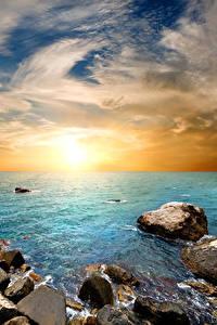 Фото Россия Крым Рассветы и закаты Берег Камни Небо Горизонт Природа