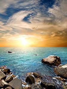 Фото Россия Крым Рассветы и закаты Берег Камни Небо Горизонт