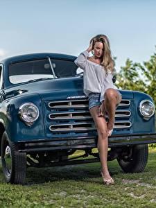 Обои Грузовики Ноги Красивые Studebaker Девушки Автомобили