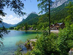 Фотография Австрия Горы Леса Озеро Здания Кустов Hintersee Ramsau Природа