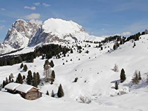 Картинка Италия Гора Снег Альп Sciliar mountain, Sassolungo, Dolomites