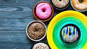 Картинка Выпечка Пончики Доски Дизайна Тарелка Еда