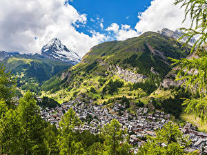 Картинка Швейцария Гора Дома Альп Zermatt