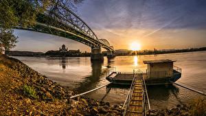 Фотографии Реки Мосты Рассветы и закаты Пирсы Побережье