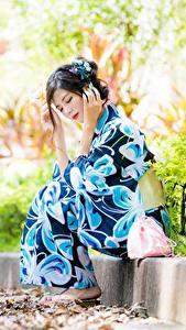 Фото Азиатки Размытый фон Поза Сидящие Кимоно молодые женщины