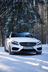 Картинка Mercedes-Benz Белый Спереди Снег mercedes c63 amg c450