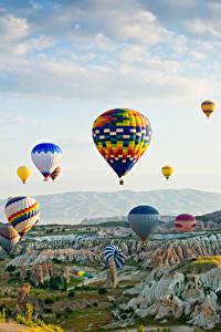Фотография Турция Парки Аэростат Скале Goreme national park Природа